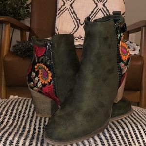Olive Suede Booties with colorful design